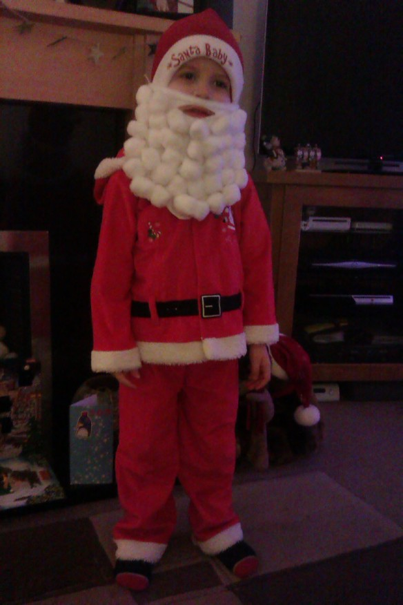 Little Mr A ready for his Christmas play
