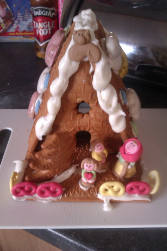 Making a Gingerbread house - very impressed with this kit we got from Aldi!