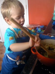 Little Mr A has always loved helping with cooking